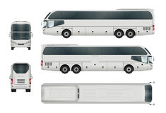 Tourist bus template. White bus vector template. Tourist coach  on white. All elements in the groups have names, the view sides are on separate layers. There is Royalty Free Stock Image