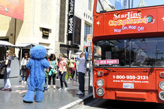 Tourist bus tour. A shot of a bus tour in Hollywood California Stock Image