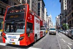 Tourist bus tour in New York Royalty Free Stock Photos