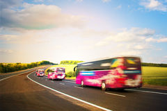 Tourist bus traveling Royalty Free Stock Photography
