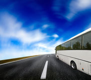 Tourist bus traveling Royalty Free Stock Photos