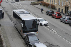 TOURIST BUS UNLAWFUL PARKING. Kastrup_ Copenhagen_Denmark _30 .March  2017_ This tourist bus is unlawful parking first closed to Bus stop and enterance of Stock Photo
