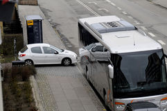 TOURIST BUS UNLAWFUL PARKING. Kastrup_ Copenhagen_Denmark _30 .March  2017_ This tourist bus is unlawful parking first closed to Bus stop and enterance of Royalty Free Stock Photography