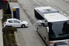 TOURIST BUS UNLAWFUL PARKING. Kastrup_ Copenhagen_Denmark _30 .March  2017_ This tourist bus is unlawful parking first closed to Bus stop and enterance of Royalty Free Stock Photo
