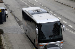 TOURIST BUS UNLAWFUL PARKING. Kastrup_ Copenhagen_Denmark _30 .March  2017_ This tourist bus is unlawful parking first closed to Bus stop and enterance of Royalty Free Stock Image