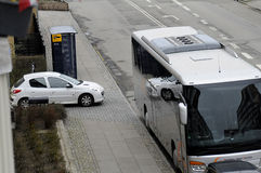 TOURIST BUS UNLAWFUL PARKING. Kastrup_ Copenhagen_Denmark _30 .March  2017_ This tourist bus is unlawful parking first closed to Bus stop and enterance of Royalty Free Stock Photos