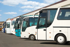 Tourist buses on a parking. Expect passengers Stock Photography