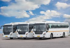 Tourist buses on parking Stock Image