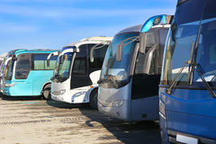 Tourist buses on parking. Big tourist buses on parking Royalty Free Stock Images