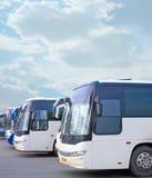 Tourist buses on parking. Big tourist buses on parking Stock Photos