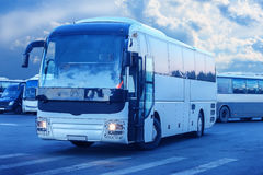 Tourist buses on parking Royalty Free Stock Photography