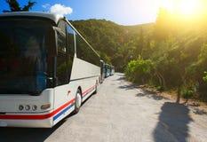 Tourist buses stock photography