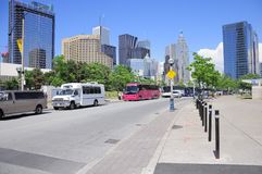Tourist buses stand in the center of the city. Royalty Free Stock Photos
