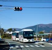 Tourist buses on street in Kawaguchi, Japan.  royalty free stock photos