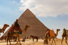 Free Tourist Bustle With Camels And People In Front Of A Pyramid Royalty Free Stock Photography - 173006317