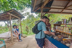 Tourist buy local coffee store Royalty Free Stock Photography