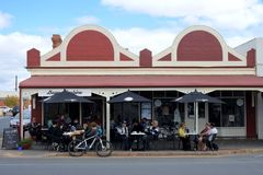 Tourist in cafe in Strathalbyn South Australia. Tourist in cafe in Strathalbyn.Strathalbyn was settled in 1839 by Scottish immigrants on land that was a meeting royalty free stock photography