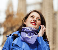 Tourist calling by mobile Stock Photos