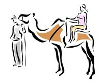 Tourist with camel. Holiday tourist riding a camel royalty free illustration