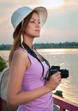 Tourist with a camera/ Royalty Free Stock Photos