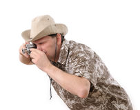 Tourist with camera Royalty Free Stock Photo