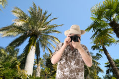 Tourist with camera royalty free stock photography