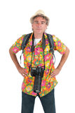 Tourist with camera and backpack Royalty Free Stock Image