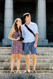 Tourist camera couple Stock Image