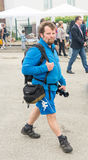Tourist with a camera on the Nestinarski Games, Bulgaria Royalty Free Stock Photo