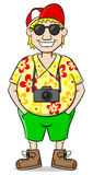 Tourist with camera, shirt and short pants Royalty Free Stock Photography