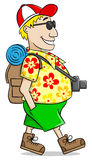 Tourist with camera, shirt and short pants Royalty Free Stock Images
