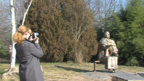 A tourist with a camera in Wangi complex in Rupite, Bulgaria. Temple of Saint Petka built Vanga, Bulgarias tourist attractions, a place of pilgrimage for fans in stock video