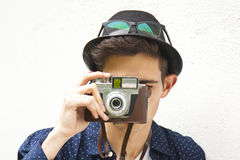 Tourist with camera. Young tourist with camera travel Royalty Free Stock Photo