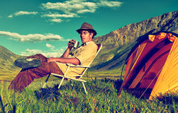 Tourist in camp Royalty Free Stock Image