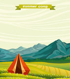 Tourist camp and green meadow - summer camp. Royalty Free Stock Images