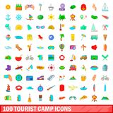 100 tourist camp icons set, cartoon style. 100 tourist camp icons set in cartoon style for any design illustration Royalty Free Stock Image