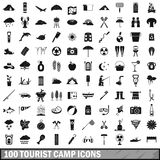 100 tourist camp icons set, simple style. 100 tourist camp icons set in simple style for any design vector illustration Royalty Free Stock Photos