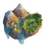 Tourist camp in mountain near river. 3d lowpoly flowing island. Conceptual illustration.  royalty free illustration