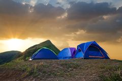 Tourist camp in a mountains. Royalty Free Stock Photo