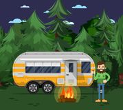 Tourist Camp Poster With Travel Trailer Stock Photos