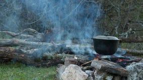 Tourist campfire. stock video footage