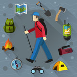 Tourist and camping equipment Royalty Free Stock Images