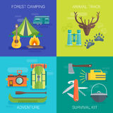 Tourist Camping Flat Compositions Royalty Free Stock Photo