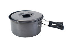 Tourist camping saucepan with folding handles Royalty Free Stock Photo