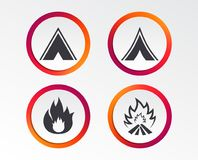 Tourist camping tent signs. Fire flame icons. Tourist camping tent icons. Fire flame sign symbols. Infographic design buttons. Circle templates. Vector Royalty Free Stock Photo