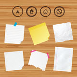 Tourist camping tent sign. Fire flame icons. Business paper banners with notes. Tourist camping tent icon. Fire flame and stop prohibition sign symbols. Sticky Royalty Free Stock Image