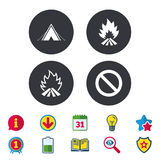 Tourist camping tent sign. Fire flame icons. Tourist camping tent icon. Fire flame and stop prohibition sign symbols. Calendar, Information and Download signs Stock Image