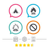 Tourist camping tent sign. Fire flame icons. Royalty Free Stock Images