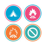 Tourist camping tent sign. Fire flame icons. Royalty Free Stock Image