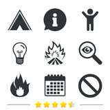 Tourist camping tent sign. Fire flame icons. Tourist camping tent icon. Fire flame and stop prohibition sign symbols. Information, light bulb and calendar icons Stock Image
